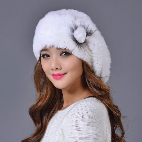 Rex Rabbit Fur Hat Genuine Rex Rabbit Fur Hat Hand Knitted Lady Winter 100% Real Caps for Women Winter Beanies MS.MinShu