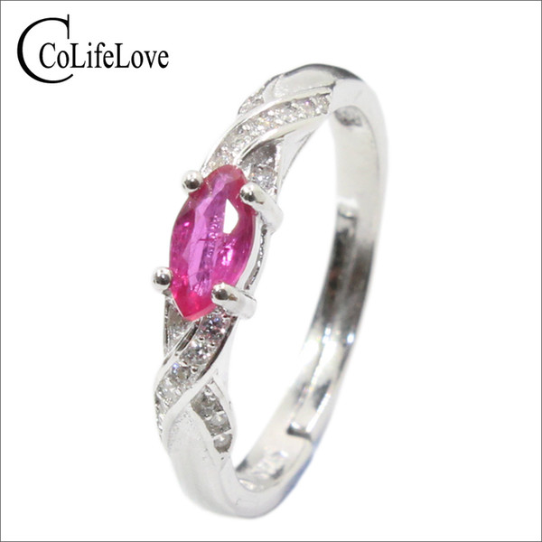 Elegant silver ruby for girl 3 mm * 6 mm natural Myanmar ruby ring 925 sterling silver ruby ring romantic gift for girlfriend Y18102610