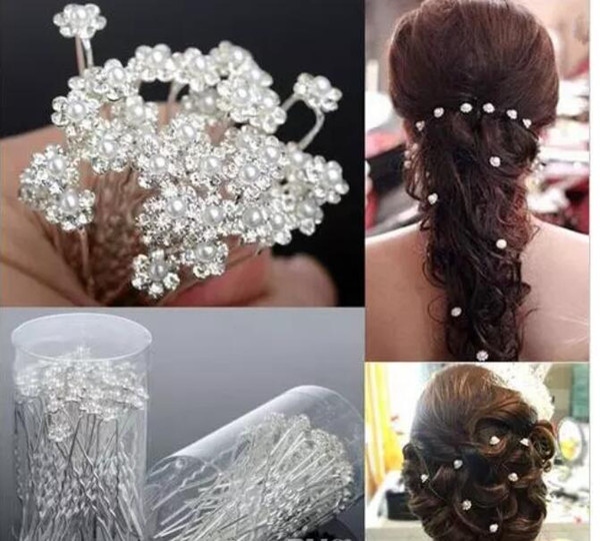 top popular New Arrival 3 StylesWedding Hair Pins for Bridal Crystals Pearls Bridal Hair Pins Headpieces U Hairpin Fork Hair Pearl Flower 2021