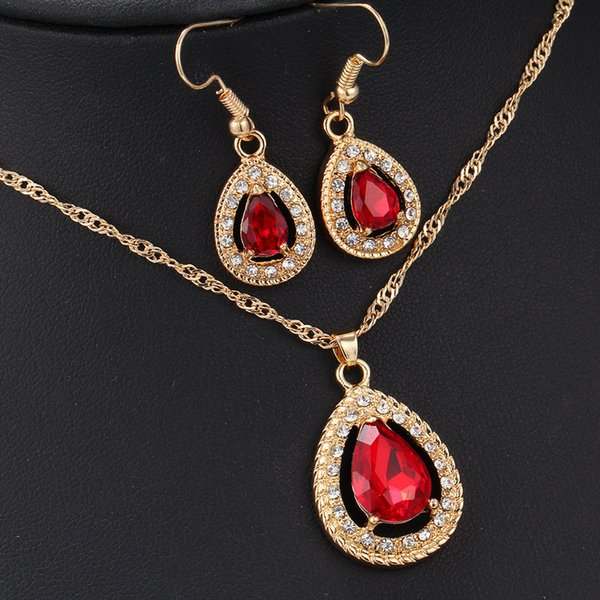 Jewelry Sets - Chocker Earring Sets Gold Plated Alloy Dangles with Gemstone Necklaces Pendants Crystal Chandelier 3 Colors