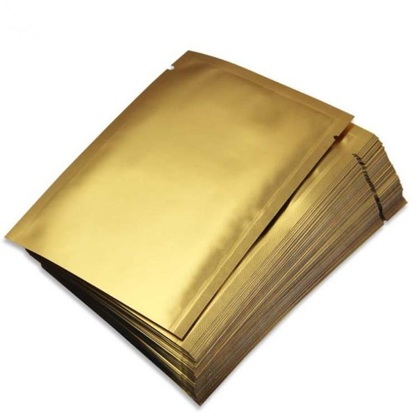 Wholesale Small Matt Gold Open Top Aluminizing Bag Facial Mask Powder Herbal Packaging Bag Heat Sealing Foil Pouch
