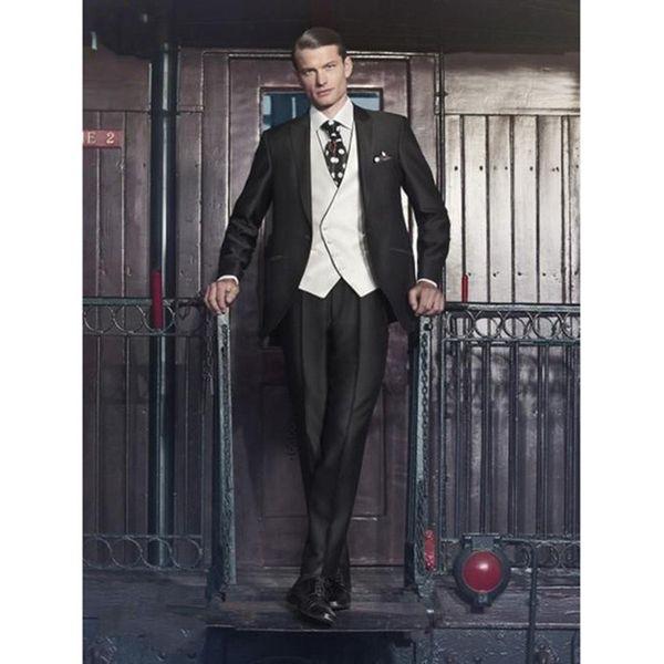 Newest Groom men suit Tuxedo Shiny Black Groomsmen Peak Lapel Wedding Dinner mens Suits Man Bridegroom (Jacket+Pants+Tie+Vest)