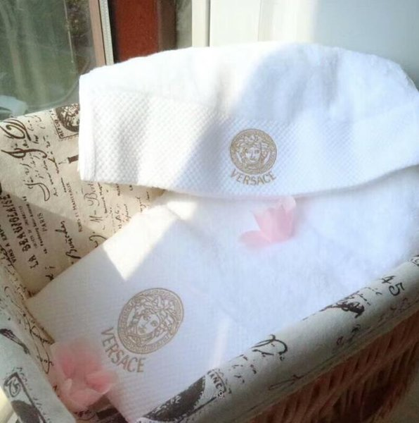top popular 2020 white towel set soft embroidered children adult fashion comfortable long-staple cotton towel two-piece bath towel 2020