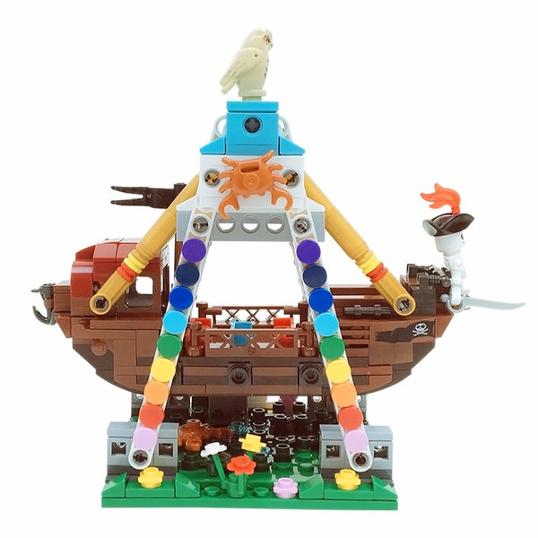 amusement park series pirate ship building blocks children's puzzle mini street view small particles to insert plastic building blocks toys