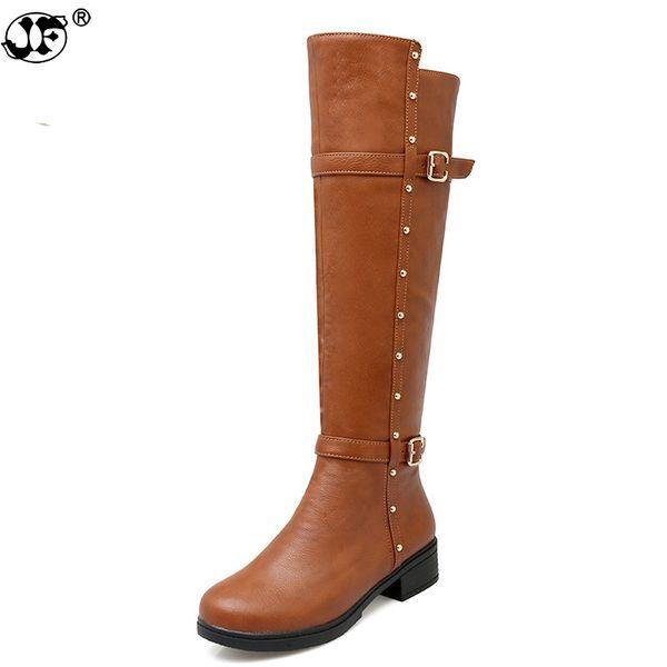Plus la taille 34-43 femmes bottes talons carrés bout rond au genou femme chaussures bottes d'hiver femme noir blanc gris 755
