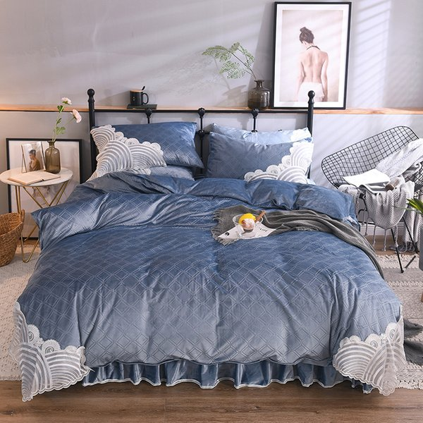 Luxury Blue Pink Winter Thick Flannel Girl Bedding set Lace Soft Fleece Fabric Duvet Cover Bed sheet Bed skirt Pillowcases 4pcs