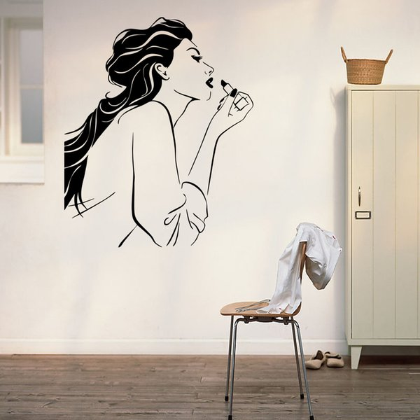 Lipstick For Beauty Wall Stickers Waterproof PVC Wallpapers Arts Murals Self-adhesive Girls Bedroom Decoration Free Shipping High Quality