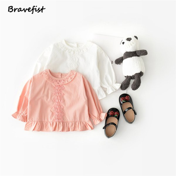 Pink White Autumn Baby Girls Blouse Cotton Long Puff Sleeve Single Breasted Lace Children Clothes Korean Infant Tops Shirts