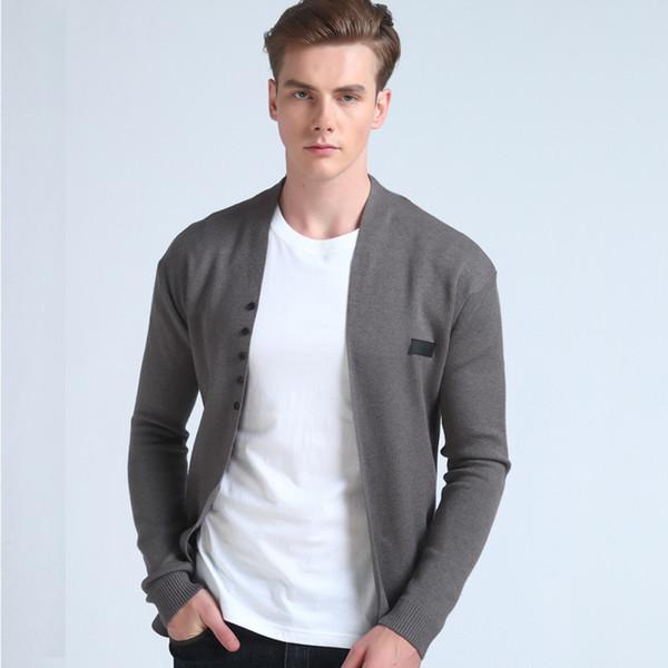 2018 Venta caliente Medio- Larga longitud para hombre sólido suéter Cardigan Trench Hombre Casual Otoño Pure Color Cardigan Sweater