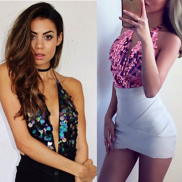 Sparkle Pink Sequin One Piece Retro Pin-up Halter Neck Jumpsuit Rompers Women plus size clothing Clubwear Backless Glitter bodysuit
