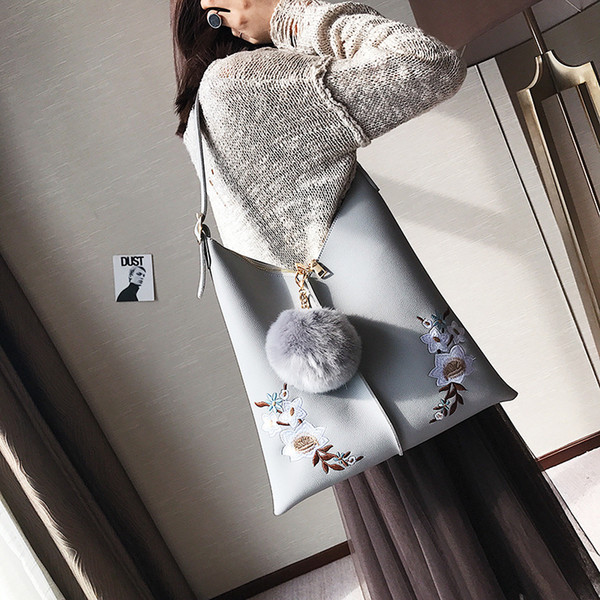 TINTON 2018 fashion women large tote bag embroidery flowers pompon pendant shoulder bag bucket bags purses and handbags hot sell