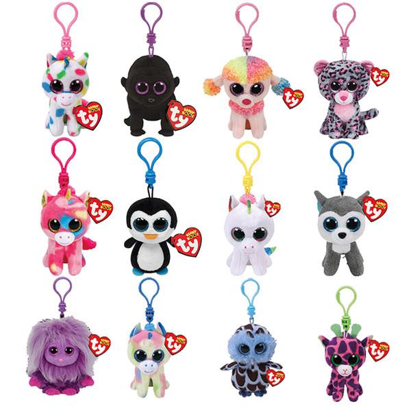 "Ty Beanie Boos Big Eyes Plush Dog Keychain Doll Penguin Leopard Owl Monkey Clip Toys With Tag 4"" 10cm"