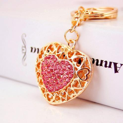 Hollow Out Love Heart Key Chains Rings Holder For Lovers Sweetheart Pendant For Car Keyrings KeyChains