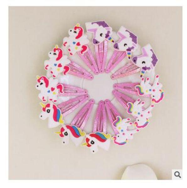 Glitter Unicorno Clip di capelli Emoji Girls Kids BirthdaY Regali Cartoon Animal Clip di capelli Carino plastica forcelle Partito Headwear Accessori per capelli