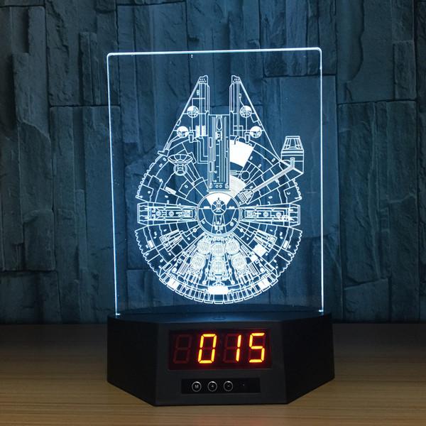 3D Millennium Illusion Clock Lamp Night Light RGB Lights USB Powered AA Battery IR Remote Dropshipping Retail Box