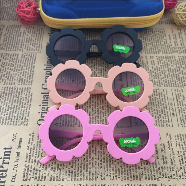Hot Sale Wholesale 2018 NEW Arrival Sun Flower Shape Round Cute Kids Sunglasses UV400 Boy&girl Lovely Baby Glasses