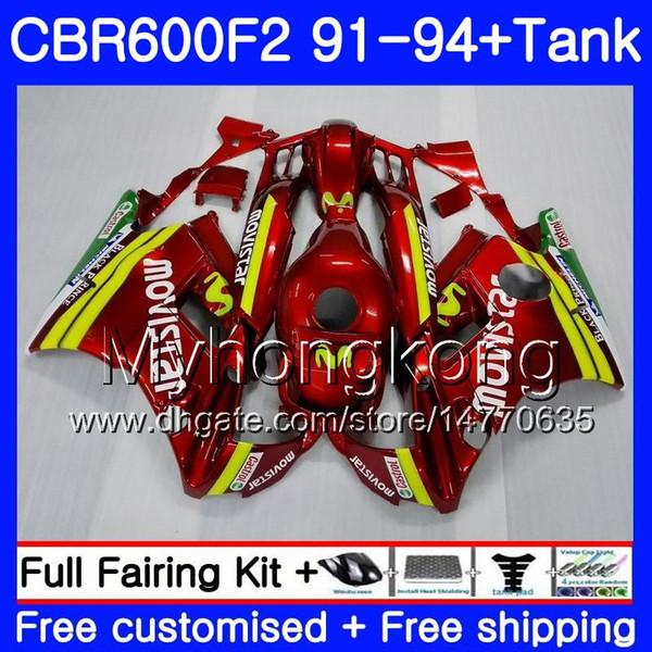 Movistar red Body For HONDA CBR 600 F2 FS CBR600 F2 1991 1992 1993 1994 1MY.47 CBR600FS CBR 600F2 CBR600RR CBR600F2 91 92 93 94 Fairing kit
