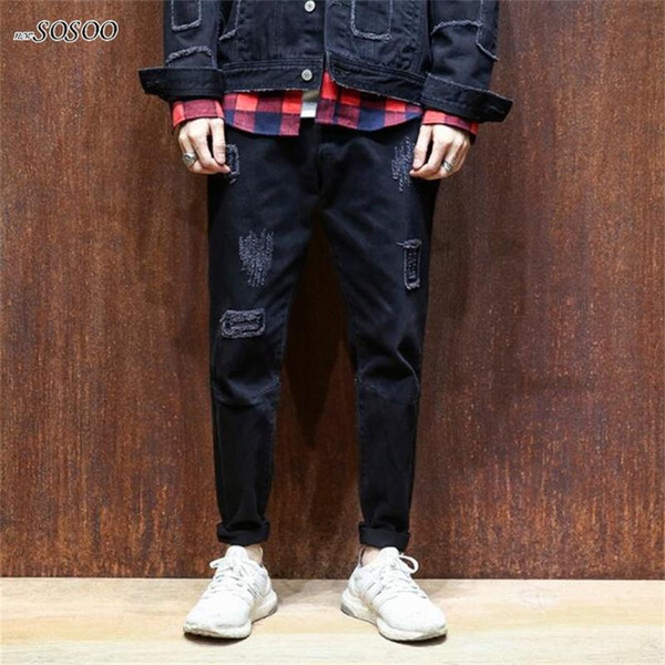 New man jeans ripped jeans for men Patches beggars Pencil pants men fashion Korean style hip hop #815