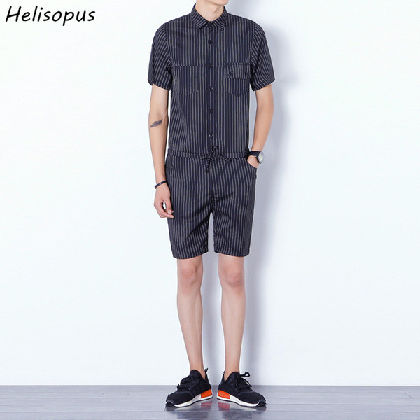 Helisopus Men Bib Cargo Short Pants Jumpsuits Fashion Striped Design Harajuku Style One Piece Overalls Male Rompers Asian Size