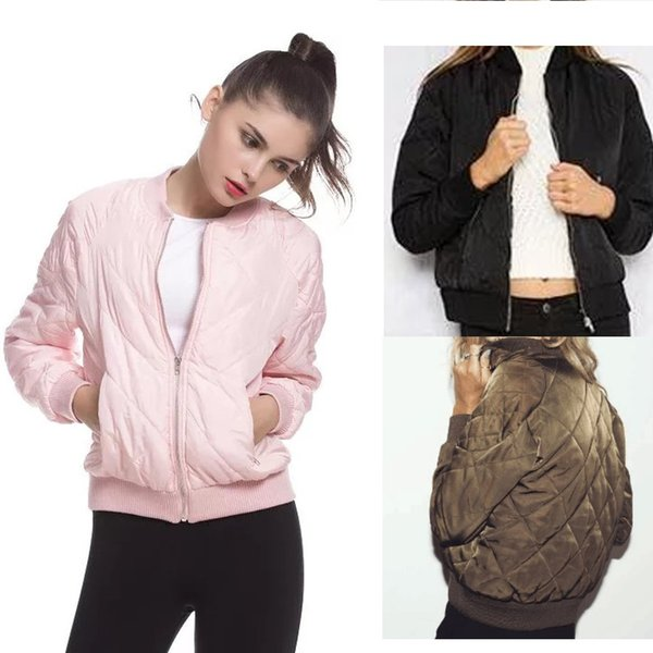 0c9cc4ae5 Fashion Women Argyle Bomber Jacket Solid Color Padded Long Sleeve Flight  Jackets Casual Coats Ladies Punk Outwear Top Capa Leather Jacket Mens  Quilted ...