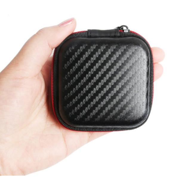 Kohlefaser Reißverschlusstasche für Kopfhörer Kabel Mini Box SD Karte Tragbare Geldbörse Kopfhörer Tasche Tragetasche Tasche Hard Case