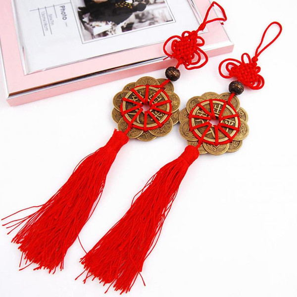 2018 Red Chinese knot FENG SHUI Set Of 10 Lucky Charm Ancient I CHING Coins Prosperity Protection Good Fortune Home Car Decor