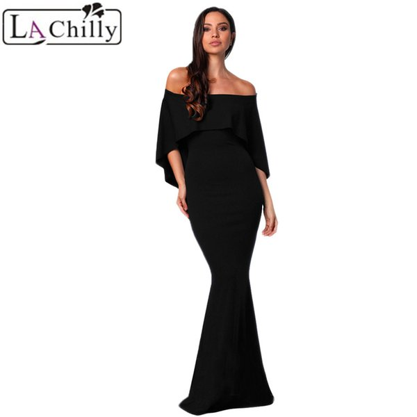 bb380c32f5c9 La Chilly Women Clothes 2018 Sexy Summer Tight Dress Burgundy Off Shoulder  Poncho Gown Mermaid Party Dress Long Dresses LC610235