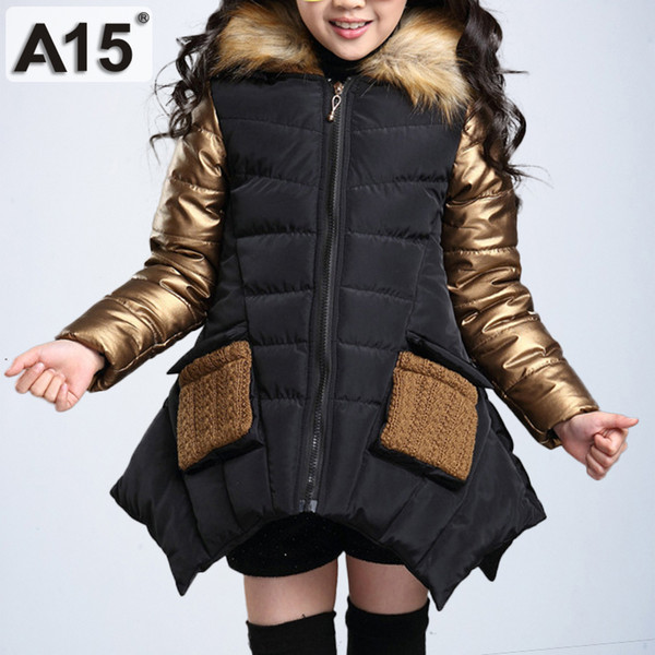 dc5785c35dc Kids Girls Winter Jacket with Fur Collar Children Parka Clothes 2018 Baby  Warm Hooded Cotton Coats Big Size 4 6 8 10 12 14 Years