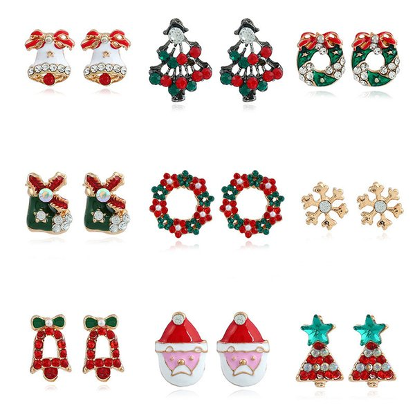 Christmas Jewelry.2019 Christmas Earring Women Santa Claus Snowman Lovely Tree Bell Christmas Jewelry For Women Gifts Vintage Retro New Year Stud Earrings Nz From