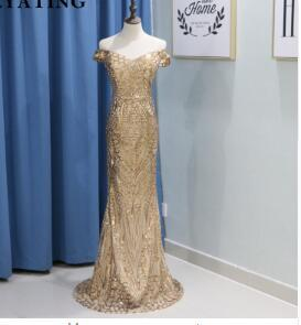 Shiny Gold Sequined Mermaid Prom Dresses 2018 Cheap Off Shoulder Floor Length Vintage Backless Long Evening Dress Formal Gowns