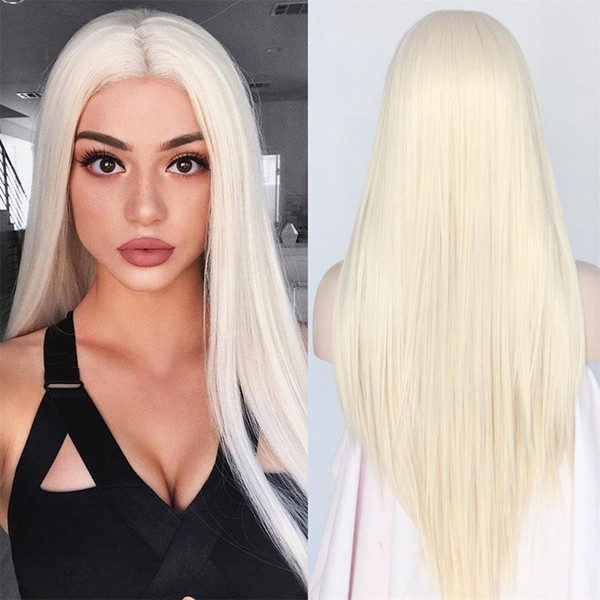 Cheap Silky Straight Top Quality White 60# Synthetic Lace Front Wig Heat Resistant Long Hair Light Blonde 0809# For Black Women cosplay Wig