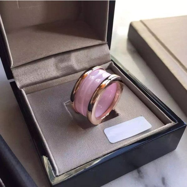 Pink Ceramic Whorl Rings, Yellow Gold/ Rose Gold /Silver Metal colors Titanium Stainless steel Women/Men Jewelry---Size 6 to 9