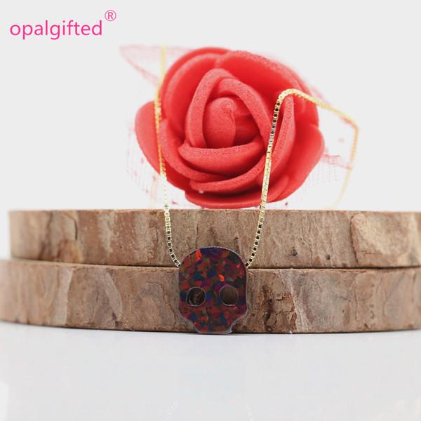 (1 teil / los) Fahion Hohe qualität 9,7 * 12mm Opal Synthetische OP71 Feuer Schwarz Opal skullhead Anhänger 925 Silber Halskette Für Halloween