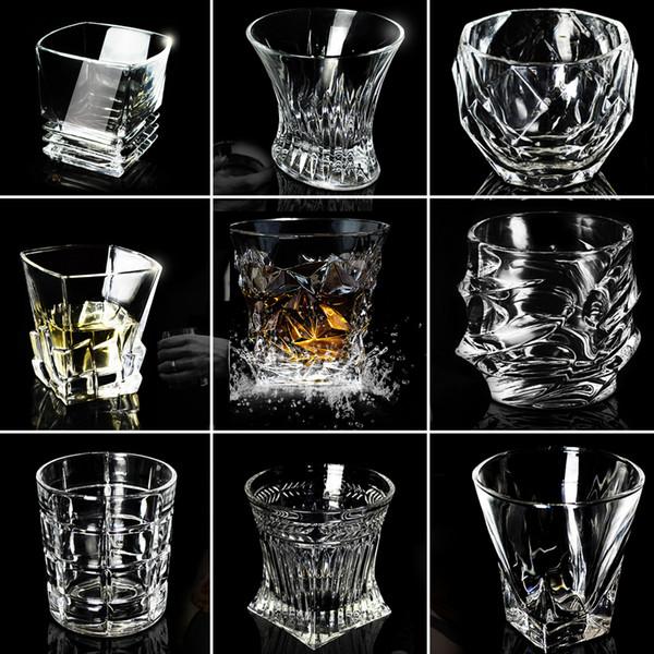 Lot Kreative Weingläser Bier Whisky bleifrei Verdickt Schnaps Tasse Ausländischer Wein Cocktail Tumbler Rum Scotch Diamond Water Cup Home