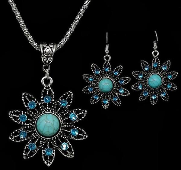 Hot Style moda esculpida oco-out brinco colar de girassóis turquesa conjunto colar brincos elegante clássico requintado elegância