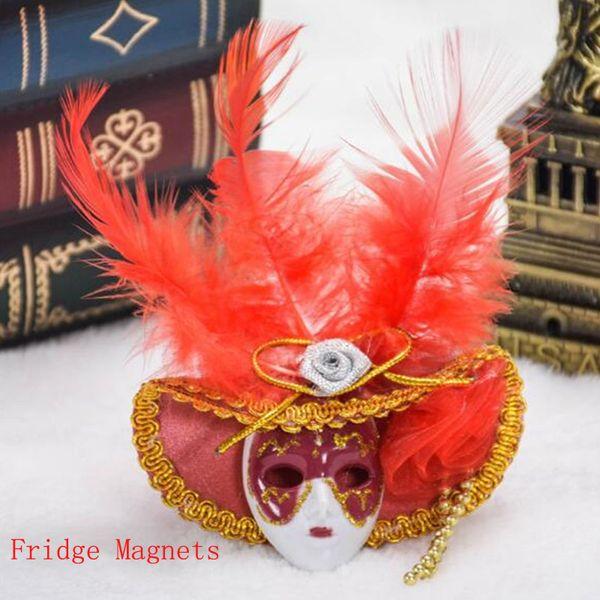 Roman Venedik Şapka Maske Süsleme Dolabı Magnet Venedik Turist Hediyelik Eşya Ev Dekorasyon Kırmızı Yeşil Mavi Pembe Sarı 12 adet / grup