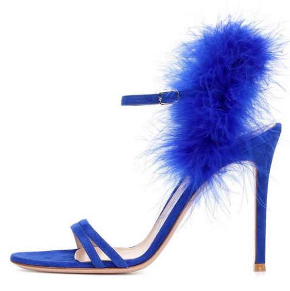 Fur Decoration Narrow Band Sandals Women Plus Size 13 Cross Strap Thin Heel Stilettos New Arrival Dance Party Dress Fuzzy Shoes