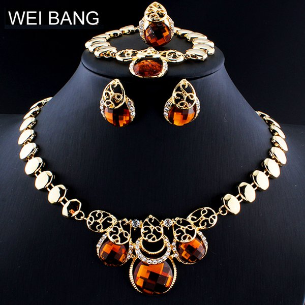 Dubai Jewelry Set for Fashion Women Crystal Necklaces Earrings Bracelets Rings Clothing Accessories