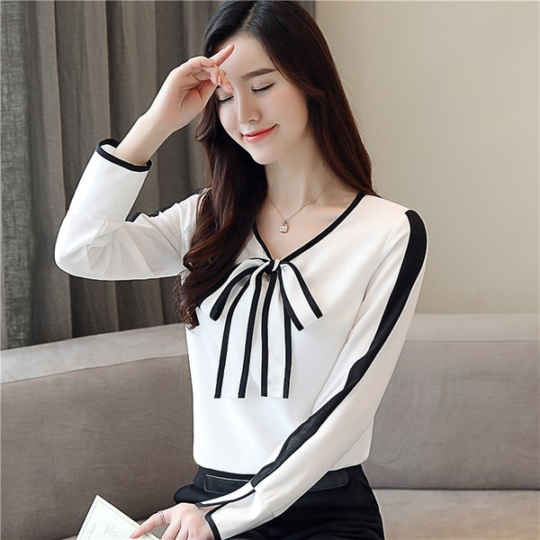 Autumn New Korean White Shirts Elegant Bow Chiffon Shirt V-neck Long Sleeve Blouse Slim Tops Women Blouses