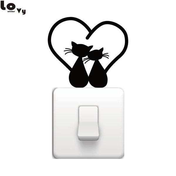 Cat Couple with Heart Tails Cuddling on Light Switch Sticker Cartoon Kitten Vinyl Art Wall Stickers for Home Decoration