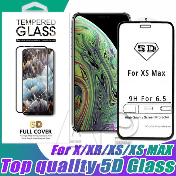 Eine Qualität 5D Gebogenes Gehärtetes Glas Für iPhone XR XS MAX X 8 Plus Full Cover Film 9H Displayschutzfolie Mit Paket
