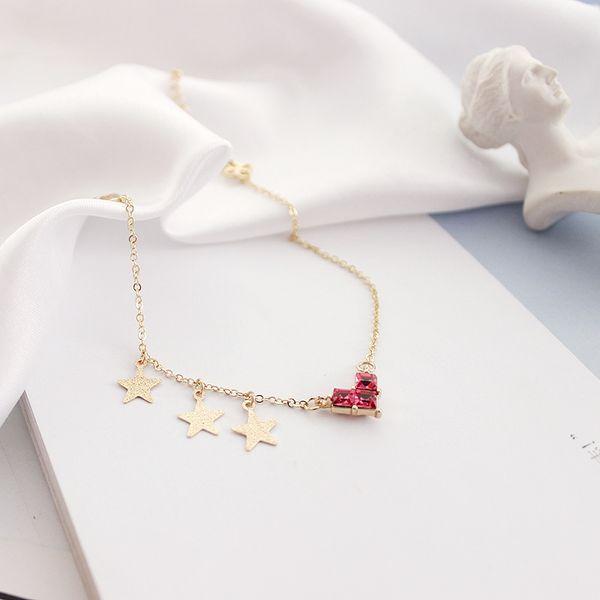 New Hot Simple Red Heart Star Tassel Charm Bangles Bracelets Cute Japanese Style Red Heart Crystal Bracelets