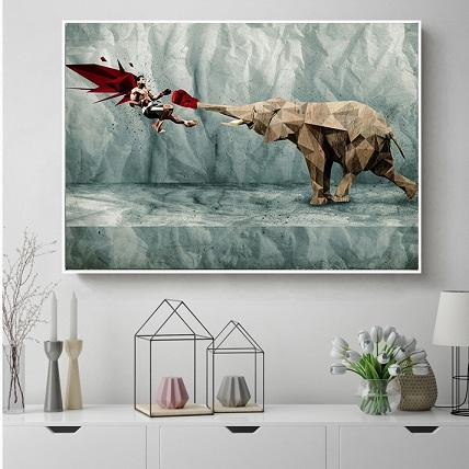 Handpainted & HD Print Movie Star Wall Art oil painting Fighter with Elephant,Home Wall Decor On High Quality Thick Canvas Multi Sizes g146