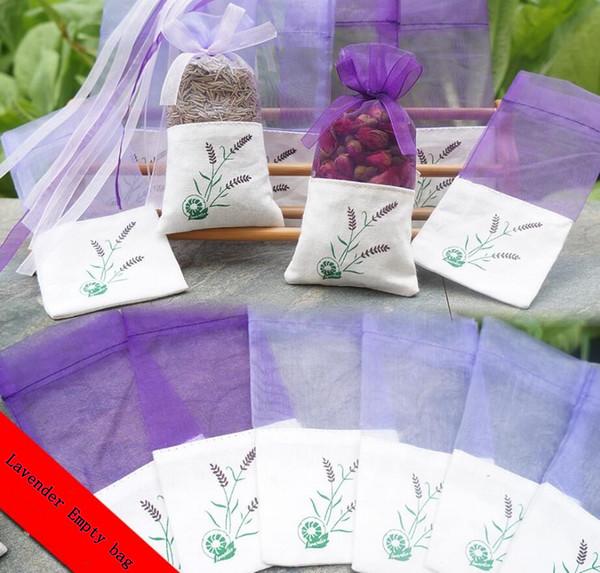 Lavender Pattern Empty Bags Cotton wedding party candy bag Linen Bundle Pocket Gauze Bags DIY Dried Flower Net Yarn Bags FFA796 300PCS