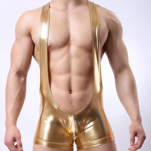 Ahkuci Sexy Men Leather Wrestling Hot Jockstrap Boxers Gold Faux Leather Erotic Gay Jumpsuit Bodysuit Lingerie Underwear