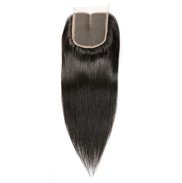 Lace Closure 4x4 Straight Human Hair Brazilian Remy Hair Bleached Knots