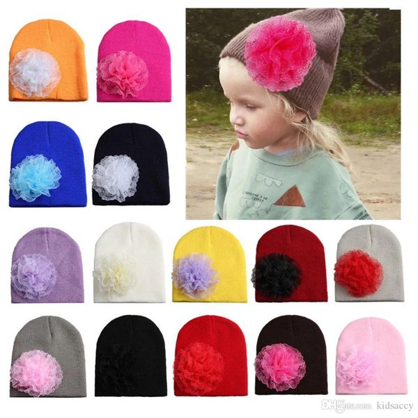 Christmas Infant Baby Girls Knitted Hat Lace Flower Headwear Child Toddler Kids Warm Beanies Hats Children Hats 14 Colors 14227