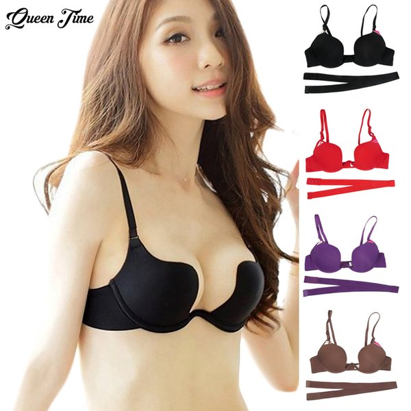 Deep U Sexy Lingerie Backless Bra Ultra-low-cut Underwear Brassiere Push Up Bras For Women Vs Brand Intimates Bralette 2017