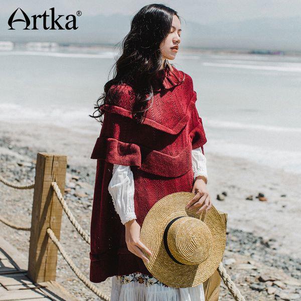 Artka Pullover Female Autumn Sweater 2018 Poncho coreano Warm Sweater Donna Vintage Cloak Wool Pullover lunga WB10374Q