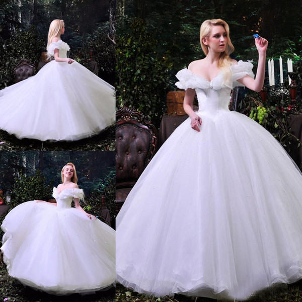 2017 Cinderella Pure White Wedding Dresses Sexy Off Shoulder Vestido de Novia A Line Organza Draped Plus Size Modest Garden Bridal Gowns